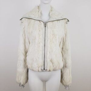 GUESS White Rabbit Fur & Leather Zip Front Jacket
